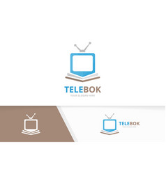 Book and tv logo combination television vector