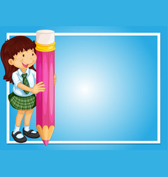 Border template with girl and pink pencil vector