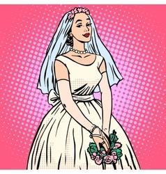 Bride in white wedding dress pop art retro style vector
