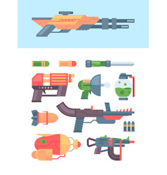 cartoon blaster toys for kids futuristic weapons vector image