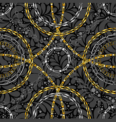 Chains on damask flat seamless pattern vector