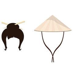 Chinese hat and geisha hair style vector