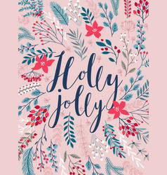christmas callygraphic card - hand drawn floral vector image