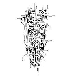Circuit ornament as a tattoo sleeve shape vector