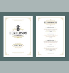 coffee menu design template flyer for cafe with vector image