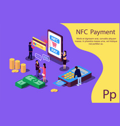 Concept nfc payment pos terminals with phone vector