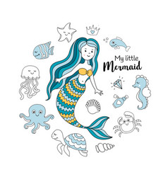 cute little mermaid with sea animals vector image