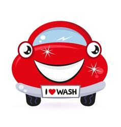 Cute red car wash vector