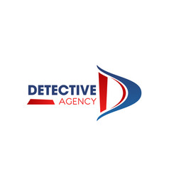 d letter icon for detective agency vector image