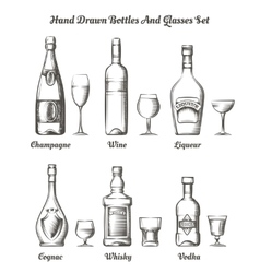 Different alcohol bottles and glasses vector image