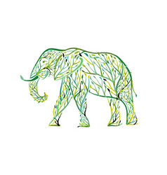 elephant shape made from tree leaves save the vector image