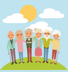 embraced elderly woman and man smiling together vector image