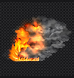 Fire and smoke concept background realistic style vector