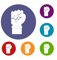 Fist icons set vector