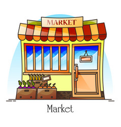 Food market or bazaar with grocery food store vector