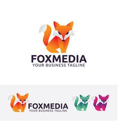 Fox media logo design vector