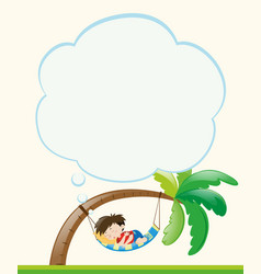 frame template with boy napping on tree vector image