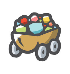 gems trolley cart with diamonds icon vector image
