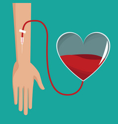 hand donor heart blood vector image
