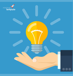 hand holding electric bulb vector image