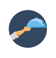 hand with service tray isolated icon vector image