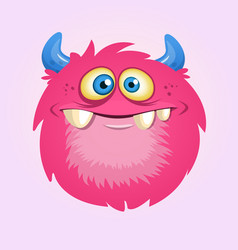 Happy cartoon hairy monster vector