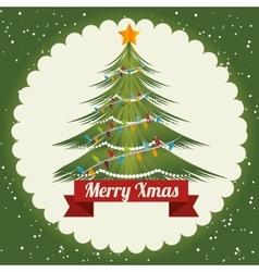 happy merry christmas tree card vector image