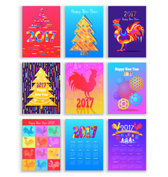 Happy new year 2017 winter holiday set flat vector