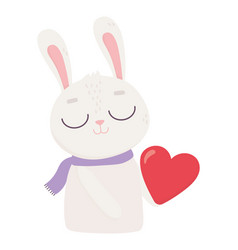 happy valentines day cute bunny with red heart vector image