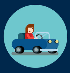 happy woman driving a car of vector image
