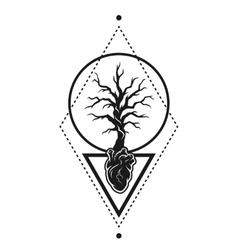 Heart of the tree as a symbol of life vector
