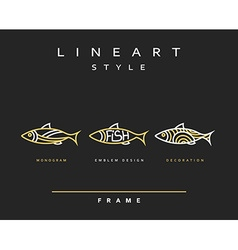 Icon fish Emblem sea fish for menu design vector image