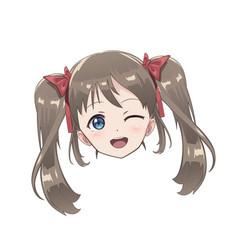 Isolated head of an anime character girl vector