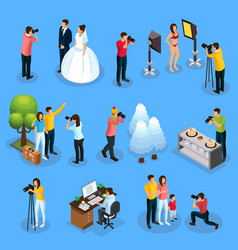 Isometric photographers collection vector