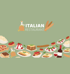 italian restaurant food banner with pizza lunch vector image