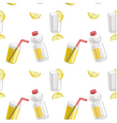 lemon and lemonade seamless pattern vector image
