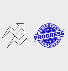 Line trend arrows icon and grunge progress vector