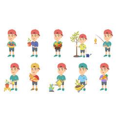 little caucasian boy set vector image