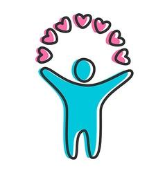 Love heart person icon vector