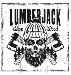 Lumberjack emblem or t-shirt print with skull vector