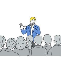 man speaks to the audience hand drawn vector image
