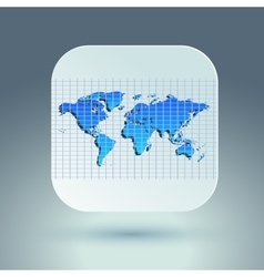 Map icon for application on grey background Grid vector
