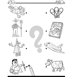 Match people and objects coloring book vector