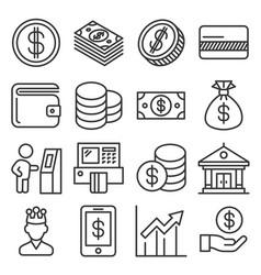 money icons set on white background line style vector image