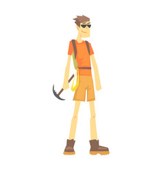Mountaineer with ice pick part of teenagers vector