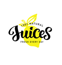 natural fresh juices logo badge vector image