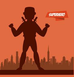 ninja superhero cartoon on city silhouette vector image