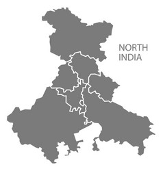 North india gray region map vector