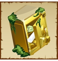 Opened safe with gold bars and securities vector