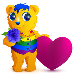 orange bear in an rainbow vest holds flower and vector image